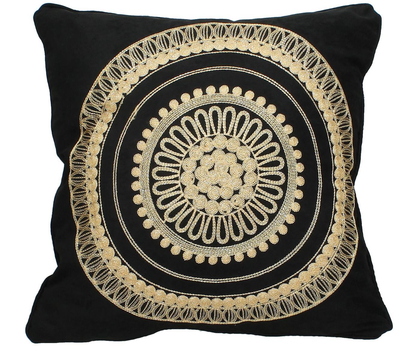 Zwart kussen Tina met gouden borduurwerk, met vulling, 80% katoen 20% polyester, Zwart, beige, 45 x 45 cm