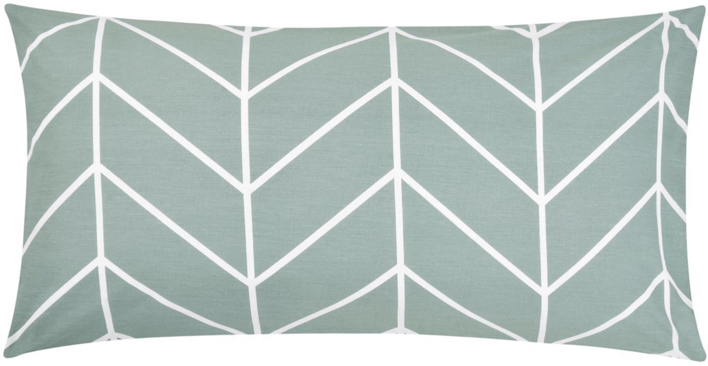 Baumwoll-Kissenbezüge Mirja mit grafischem Muster, 2 Stück, Webart: Renforcé Fadendichte 144 , Grün, Cremeweiss, 40 x 80 cm