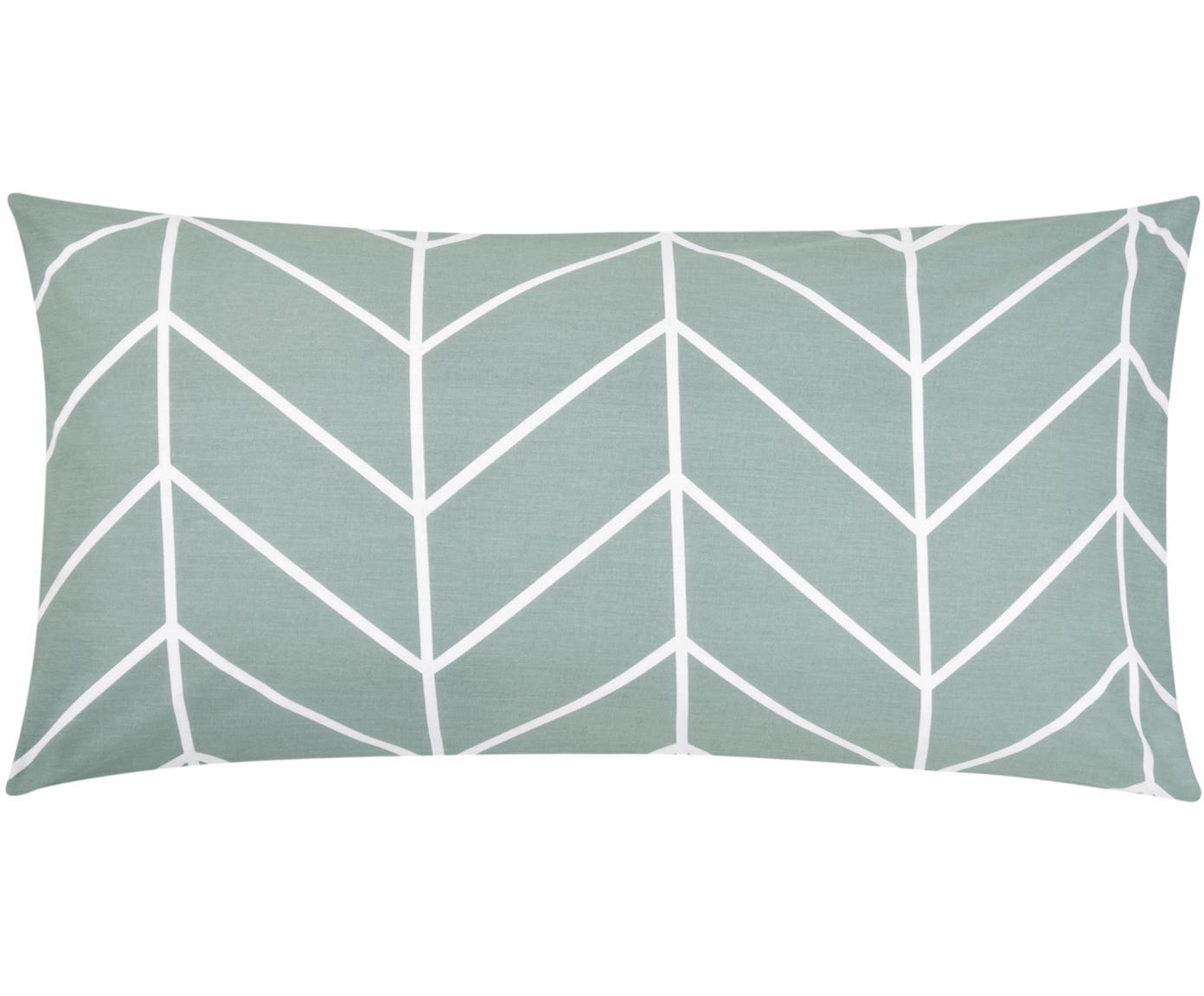 Baumwoll-Kissenbezüge Mirja mit grafischem Muster, 2 Stück, Webart: Renforcé Fadendichte 144 , Grün, Cremeweiß, 40 x 80 cm
