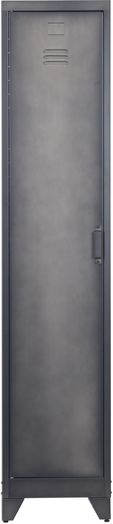 Armadietto stretto in metallo Cas, Metallo rivestito, Grigio scuro, Larg. 38 x Alt. 180 cm