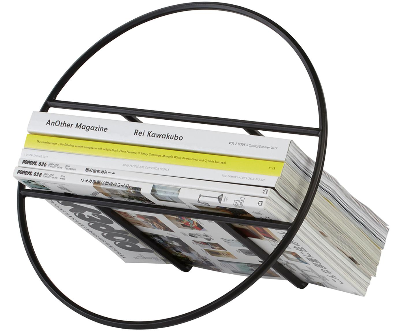 Revistero Hoop, Metal pintado, Negro, Ø 35 x Al 21 cm