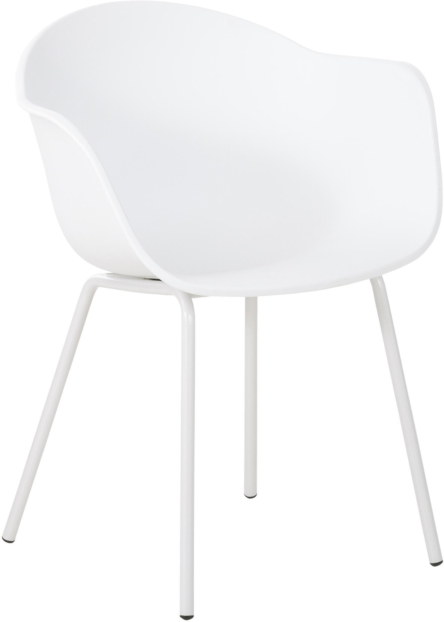 Sedia con braccioli in plastica con gambe in metallo Claire, Seduta: materiale sintetico, Gambe: metallo verniciato a polv, Bianco, Larg. 54 x Prof. 60 cm