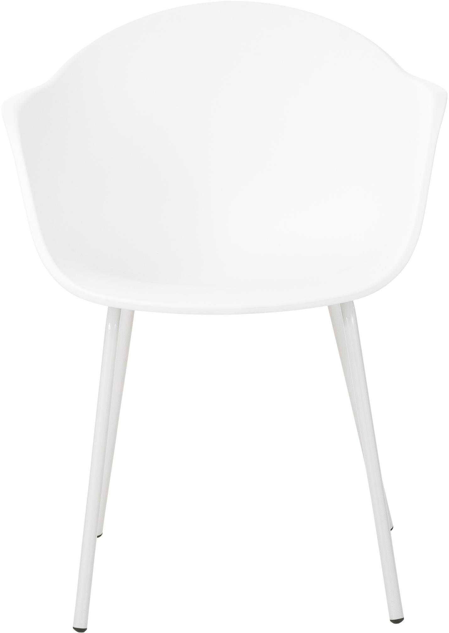 Kunststoff-Armlehnstuhl Claire mit Metallbeinen, Sitzschale: Kunststoff, Beine: Metall, pulverbeschichtet, Weiß, B 54 x T 60 cm