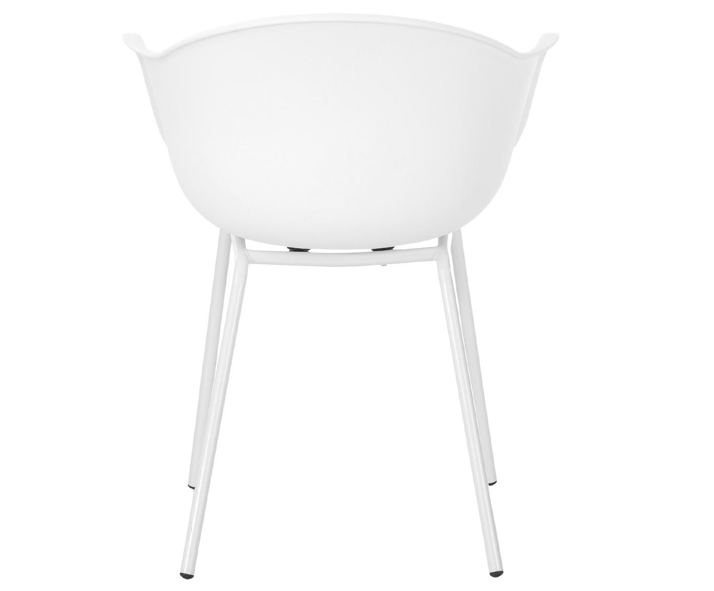 Krzesło z podłokietnikami z tworzywa sztucznego Claire, Nogi: metal malowany proszkowo, Biały, S 54 x G 60 cm