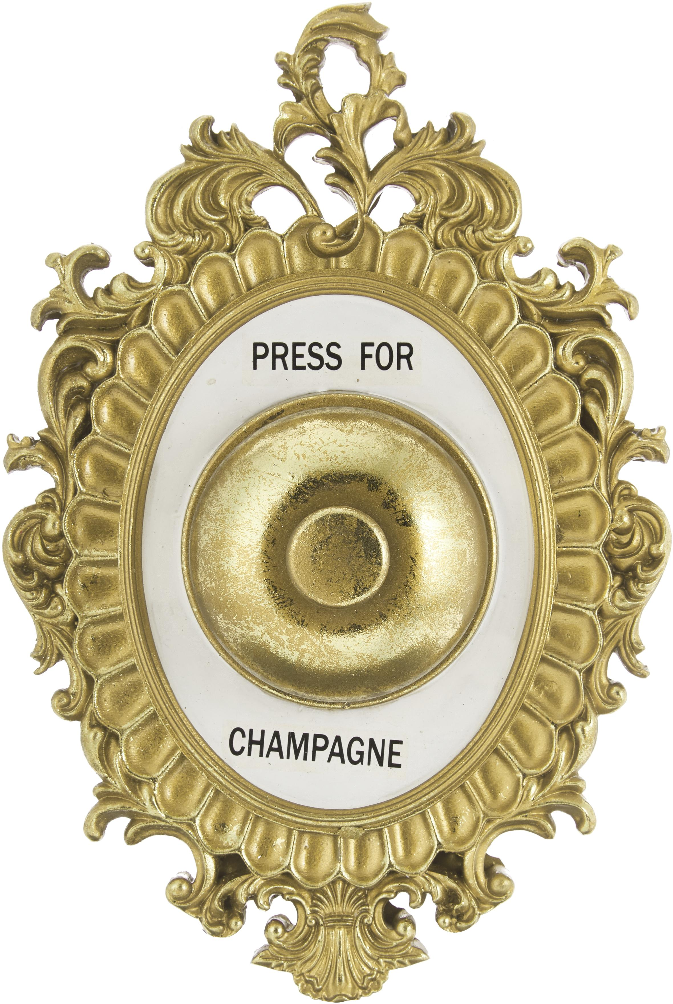 Oggetto decorativo in poliresina Bell, Cornice: poliresina, Dorato, bianco, nero, Larg. 14 x Alt. 23 cm