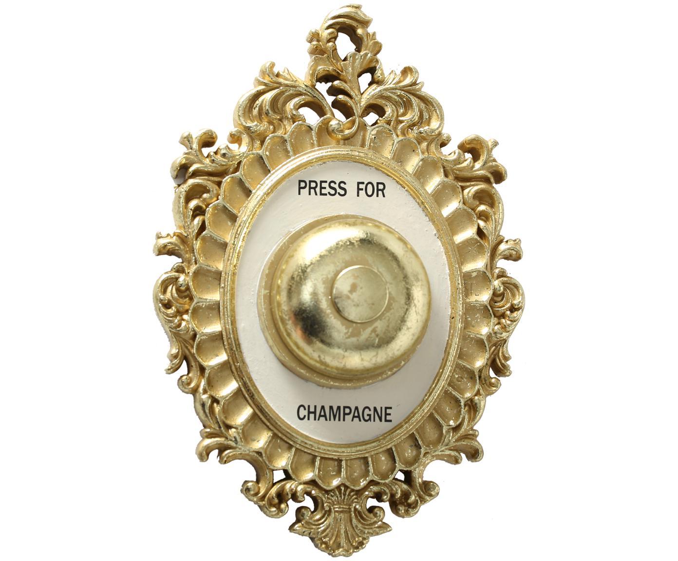 Wandobject Bell, Frame: polyresin, Stolp: metaal, Goudkleurig, wit, zwart, 14 x 23 cm
