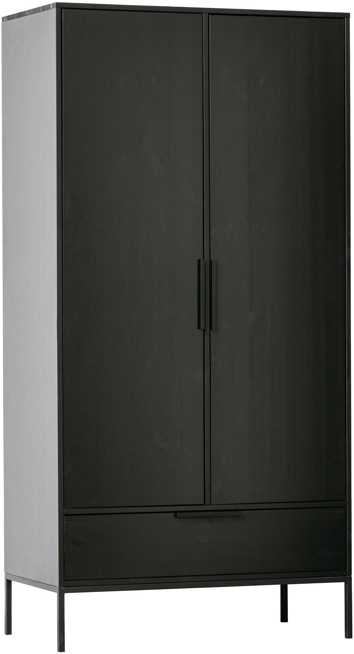 Kleiderschrank Adam, Korpus: Kiefernholz, lackiert, Einlegeböden: Spanplatte, laminiert, Füße: Metall, beschichtet, Schwarz, 100 x 200 cm