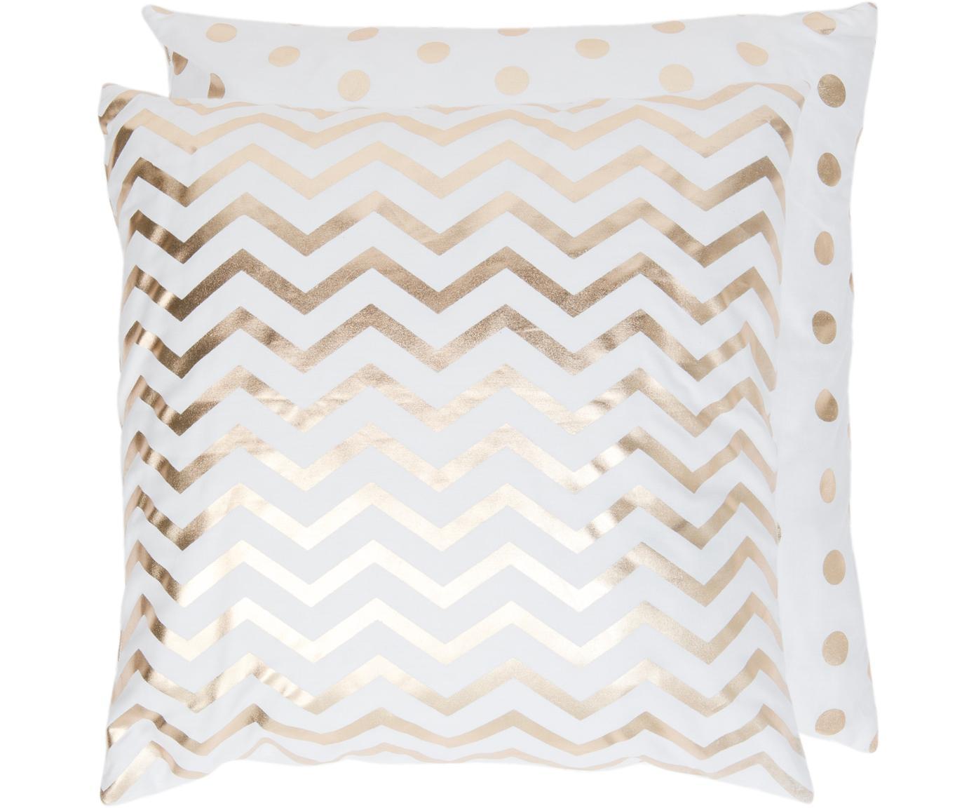 Dwustronna poszewka na poduszkę Chevron, Bawełna, Biały, odcienie złotego, S 50 x D 50 cm