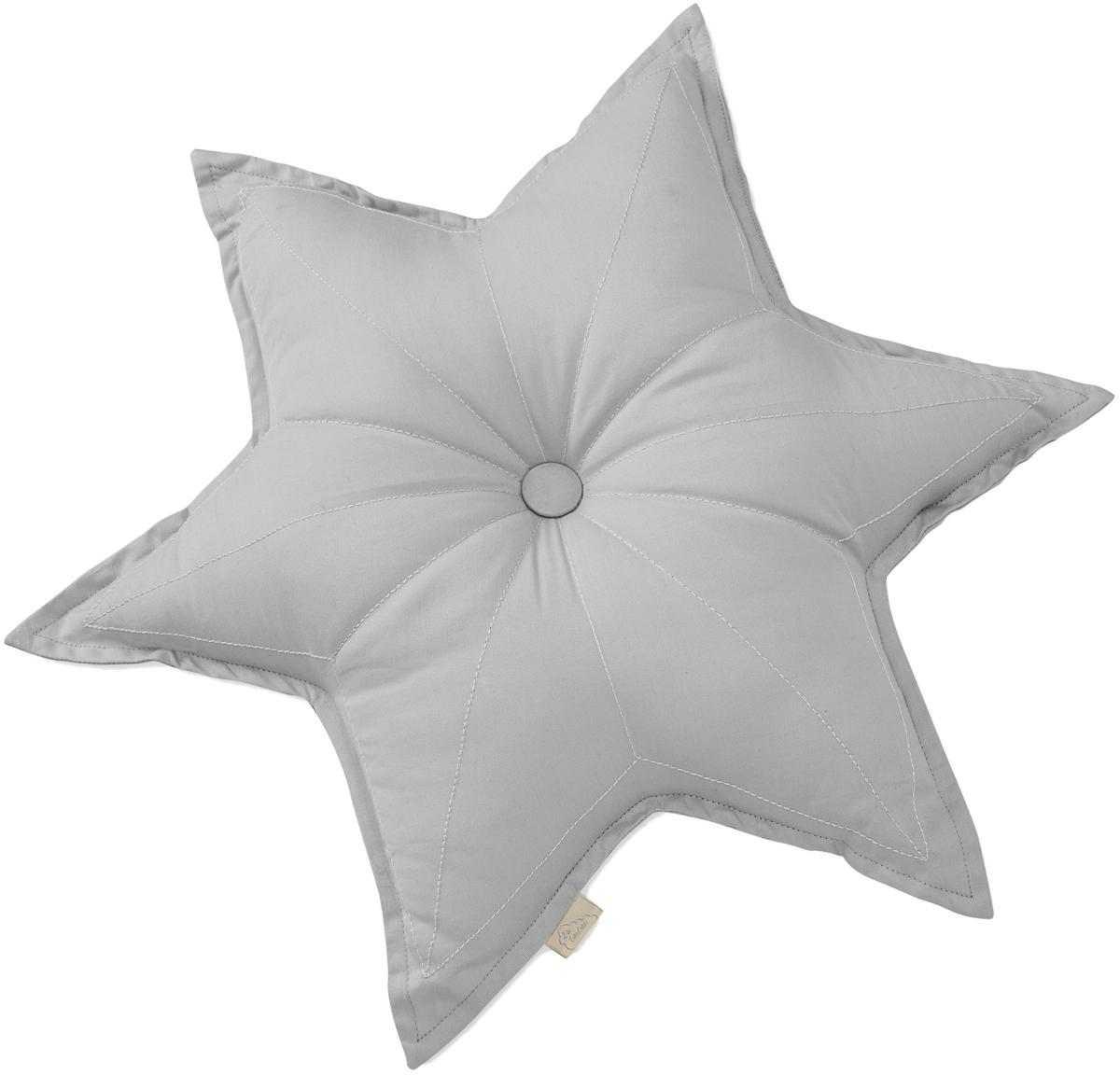 Cojín de algodón ecológico Star, con relleno, Exterior: algodón orgánico, Gris, An 45 x L 45 cm