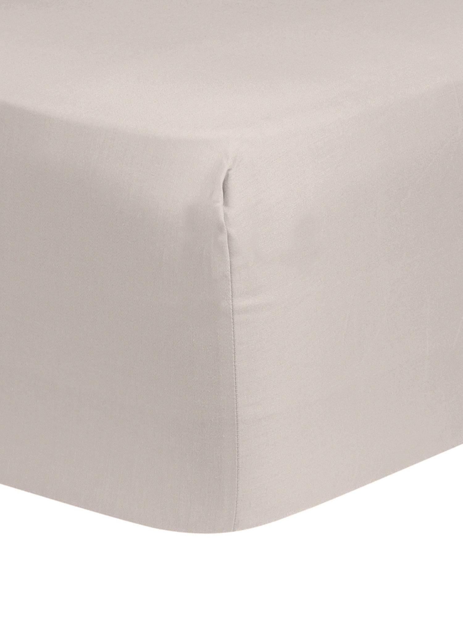 Lenzuolo con angoli in raso di cotone Comfort, Taupe, Larg. 180 x Lung. 200 cm
