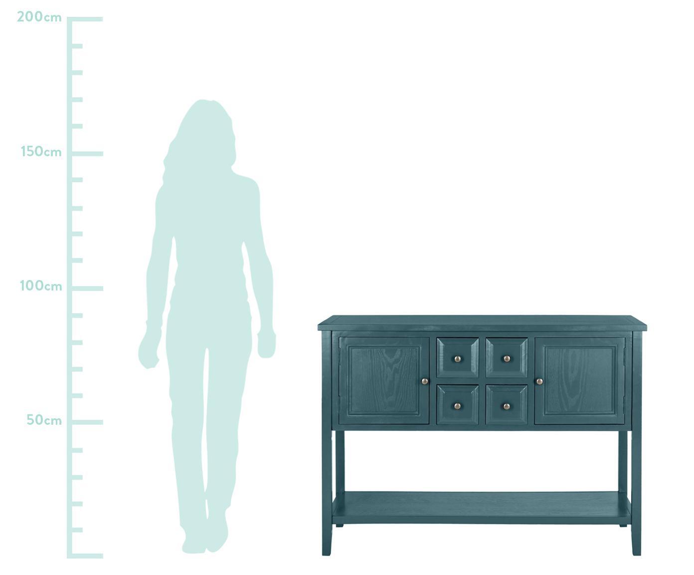 Dressoir Amy in landelijke stijl, Frame: olmenhout, gelakt grenenh, Petrolkleurig, 116 x 86 cm