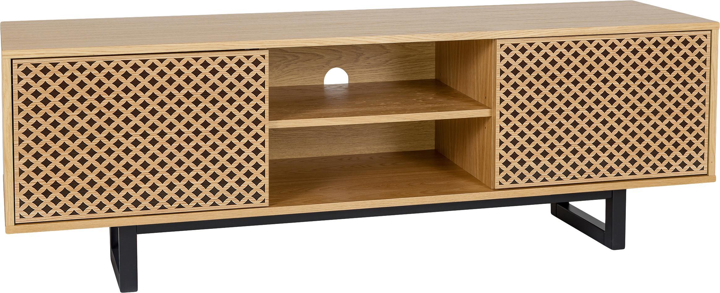 Mobile TV con finitura in quercia Mora, Piedini: legno di betulla vernicia, Legno di quercia, nero, Larg. 150 x Alt. 50 cm