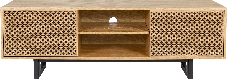 Szafka RTV z czarnym wzorem Camden, Nogi: drewno brzozowe, lakierow, Drewno dębowe, czarny, S 150 x W 50 cm