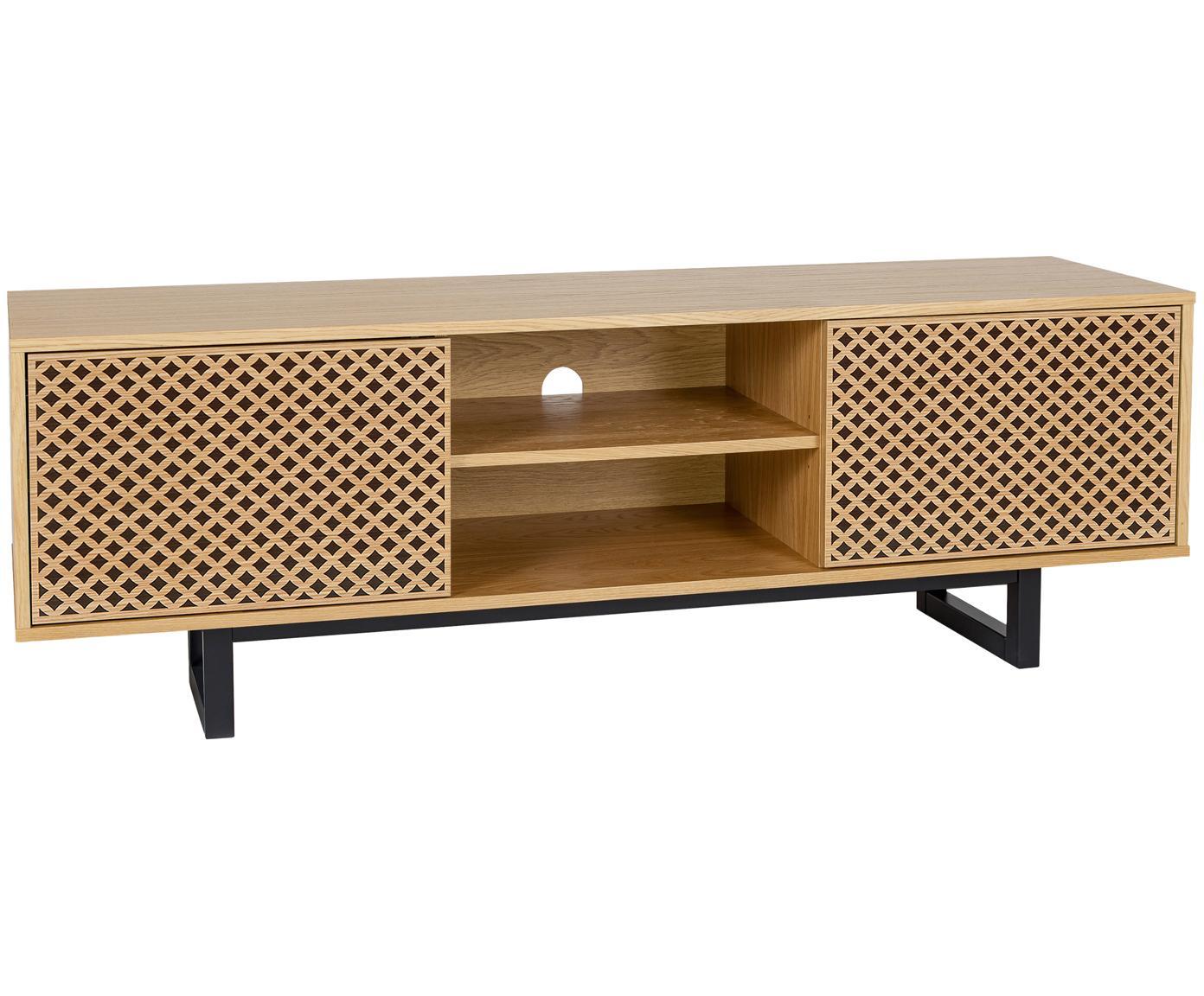 Tv-meubel Mora met zwart patroon, Poten: gelakt berkenhout, Eikenhoutkleurig, zwart, 150 x 50 cm
