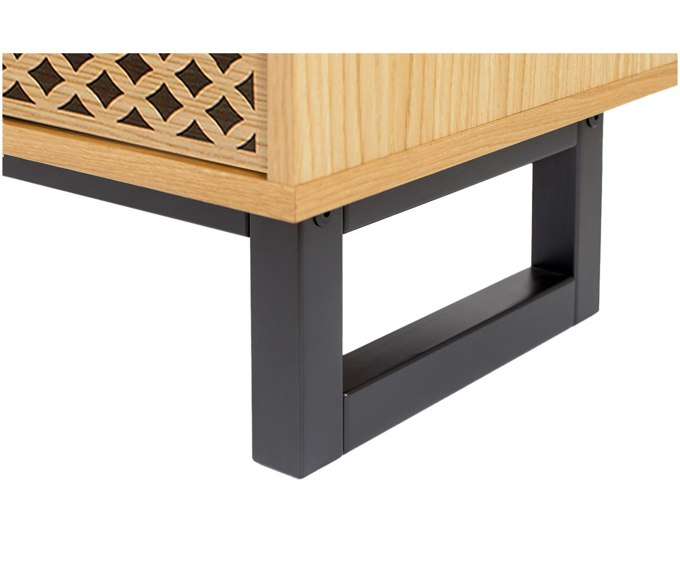 Szafka RTV z czarnym wzorem Mora, Nogi: drewno brzozowe, lakierow, Drewno dębowe, czarny, S 150 x W 50 cm