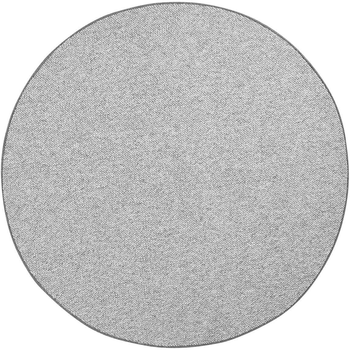 Alfombra redonda de tejido de bolitas Lyon, Parte superior: 100%polipropileno, Reverso: forro polar, Gris jaspeado, Ø 200 cm (Tamaño L)