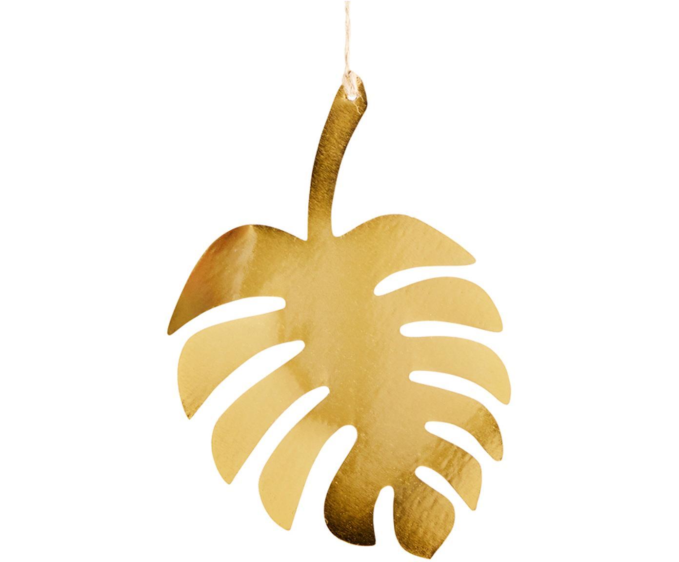 Dekoracja ścienna z metalu powlekanego Leaf, Metal powlekany, juta, Odcienie mosiądzu, S 12 x W 18 cm