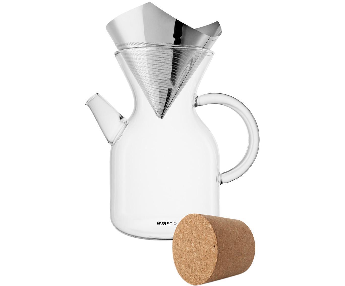 Set caffettiera Vetro, 3 pz., Coperchio: sughero, Trasparente, accaio inossidabile, 1 l