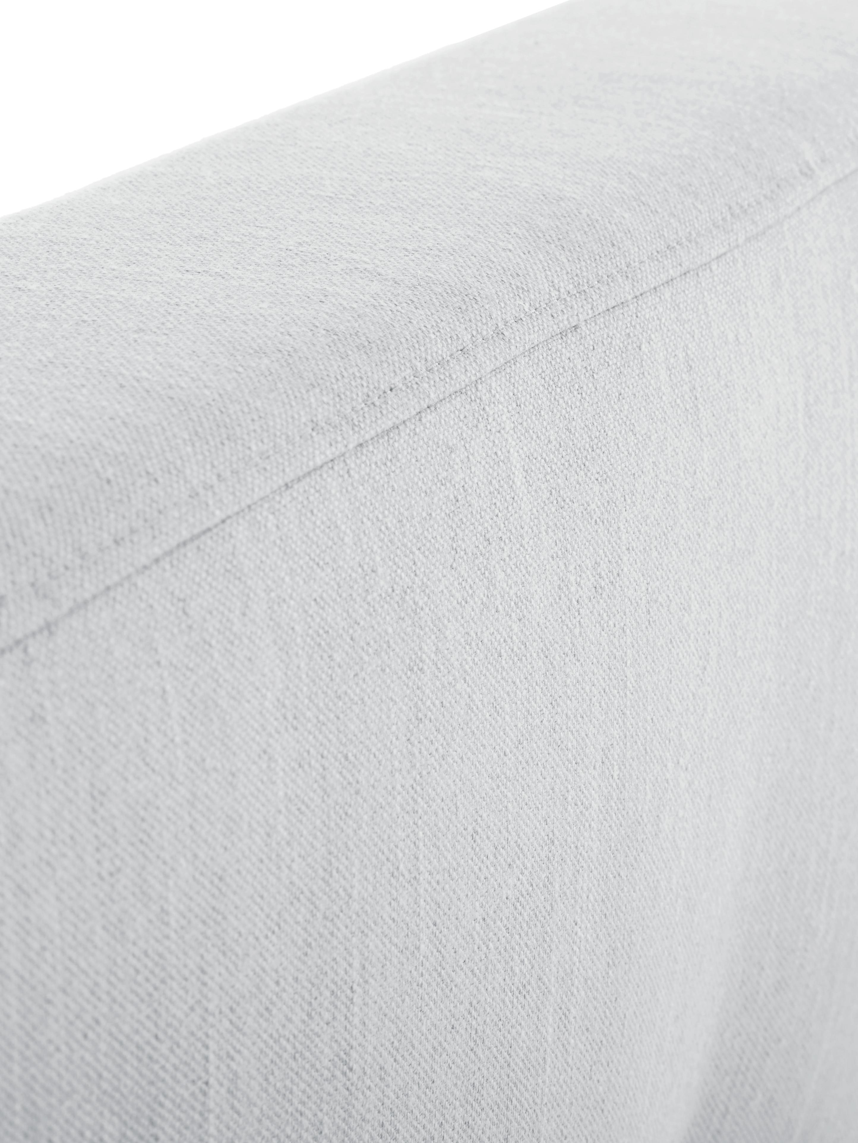 Polsterbett Moon, Korpus: Massives Kiefernholz, Füße: Massives Eichenholz, Bezug: Polyester (Strukturstoff), Hellgrau, 180 x 200 cm