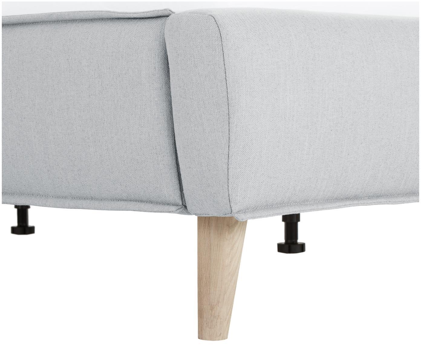 Gestoffeerd bed Moon, Frame: massief grenenhout, Poten: massief eikenhout, Bekleding: polyester (structuurstof), Lichtgrijs, 180 x 200 cm