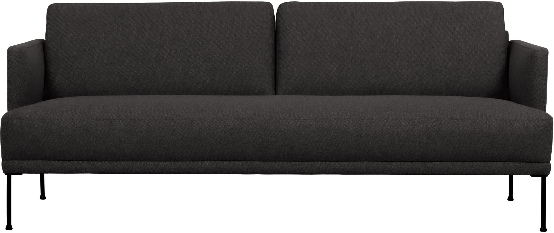 Sofa Fluente (3-Sitzer), Bezug: 100% Polyester Der hochwe, Gestell: Massives Kiefernholz, Füße: Metall, pulverbeschichtet, Webstoff Dunkelgrau, B 196 x T 85 cm