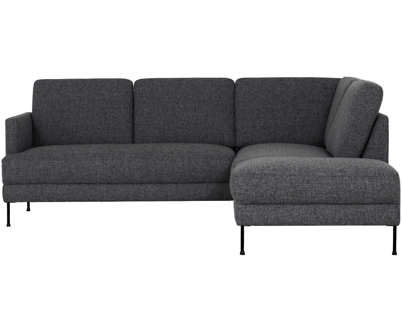 Hoekbank Fluente, Bekleding: polyester, Frame: hout, Poten: gelakt metaal, Donkergrijs, B 221 x D 200 cm