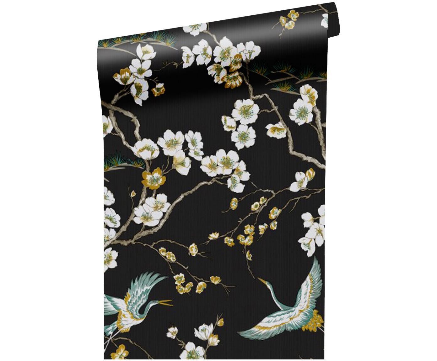 Papel pintado Japanese Flowers, Tejido no tejido, Negro, blanco, azul, amarillo, An 52 x L 1005 cm