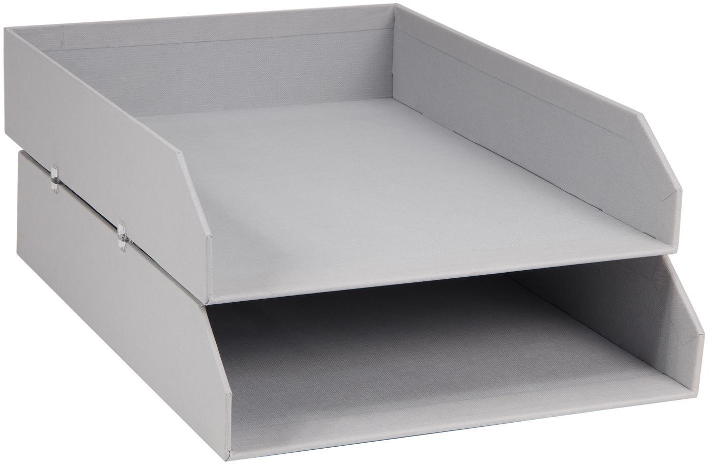 Organizadores de documentos Hakan, 2uds., Cartón laminado macizo, Gris claro, An 23 x F 31 cm