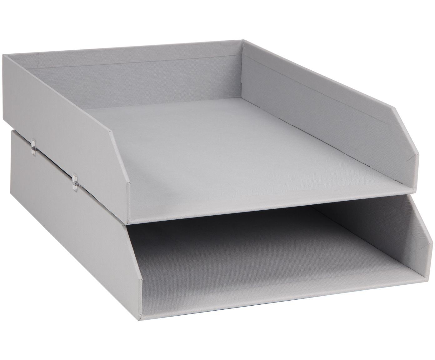 Documentenhouders Hakan, 2 stuks, Massief, gelamineerd karton, Lichtgrijs, B 23  x D 31 cm