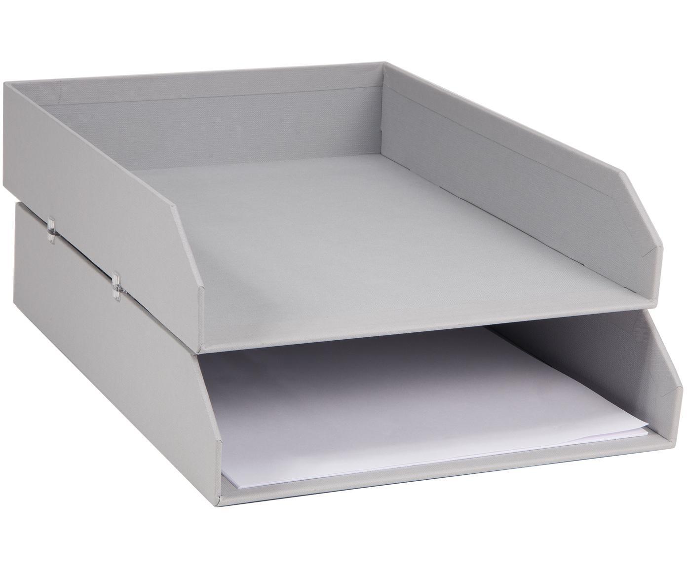 Dokumenten-Ablagen Hakan, 2 Stück, Fester, laminierter Karton, Hellgrau, B 23 x T 31 cm