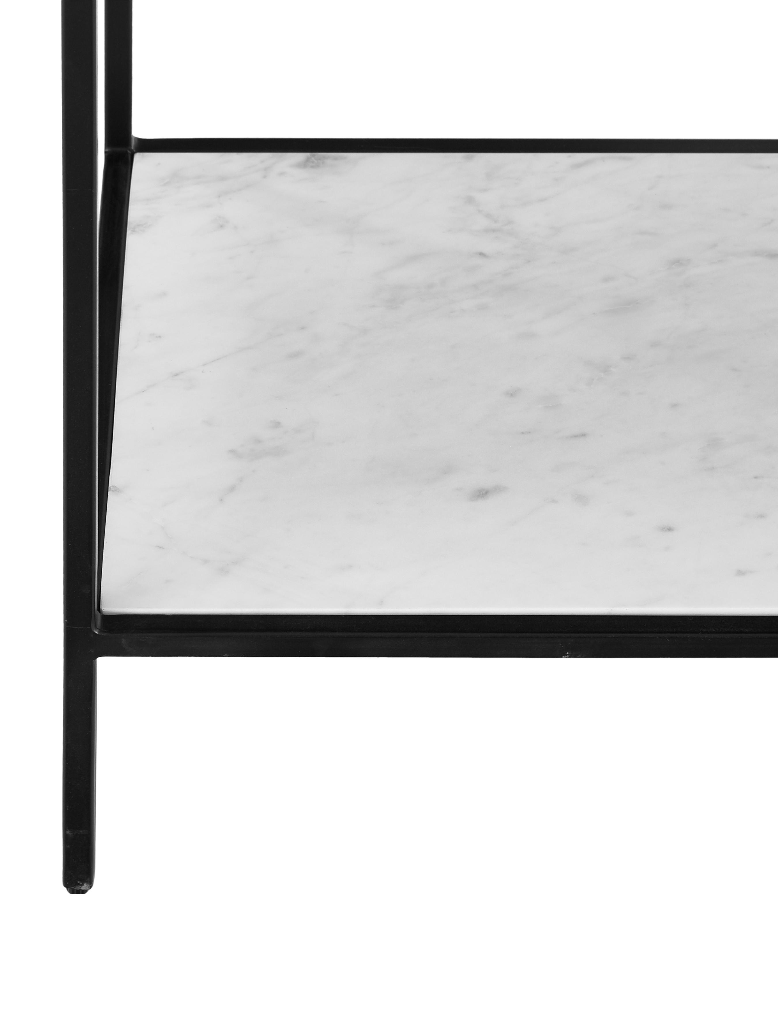 Konsole Lenny mit Marmor-Ablage, Korpus: Mitteldichte Holzfaserpla, Ablagefläche: Marmor, Gestell: Metall, pulverbeschichtet, Schwarz, Weiß-grauer Marmor, 120 x 80 cm