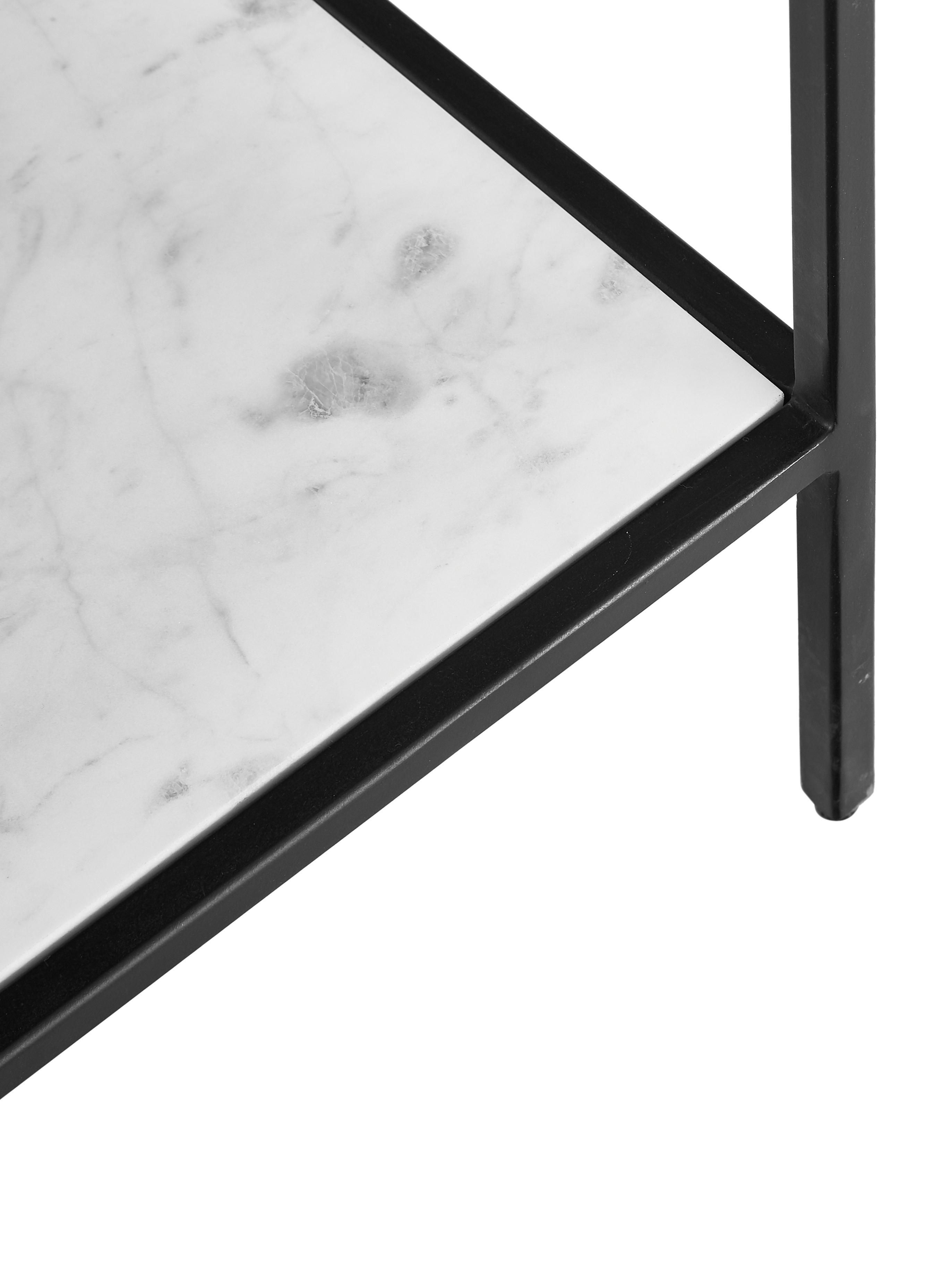 Consolle con ripiano in marmo Lenny, Mensola: marmo, Struttura: metallo verniciato a polv, Nero, marmo bianco-grigio, Larg. 120 x Alt. 80 cm