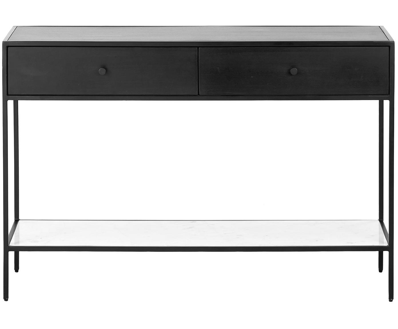 Konsola z półką z marmuru Lenny, Korpus: płyta pilśniowa średniej , Stelaż: metal malowany proszkowo, Czarny, białoszary marmur, S 120 x W 80 cm