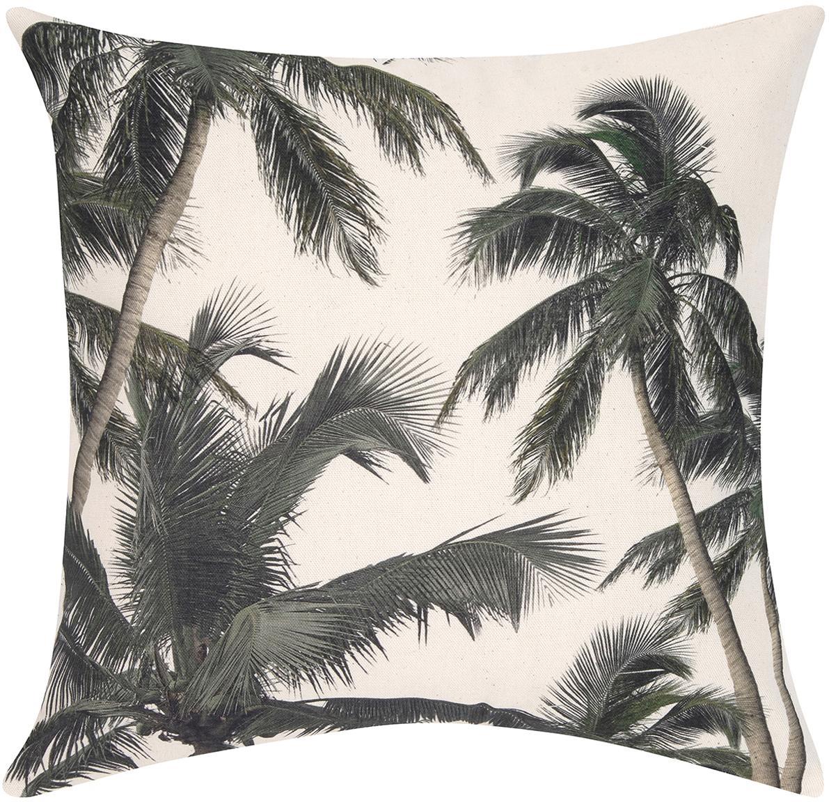 Poszewka na poduszkę Mogli, Bawełna, Ecru, zielony, S 40 x D 40 cm