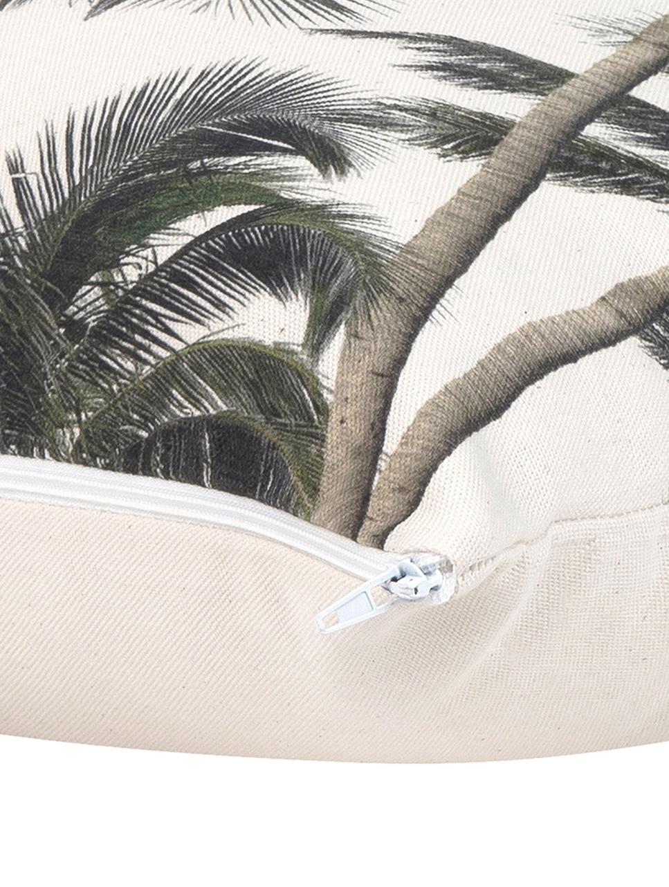 Kissenhülle Mogli mit Palmenprint, 100% Baumwolle, Ecru, Grün, 40 x 40 cm