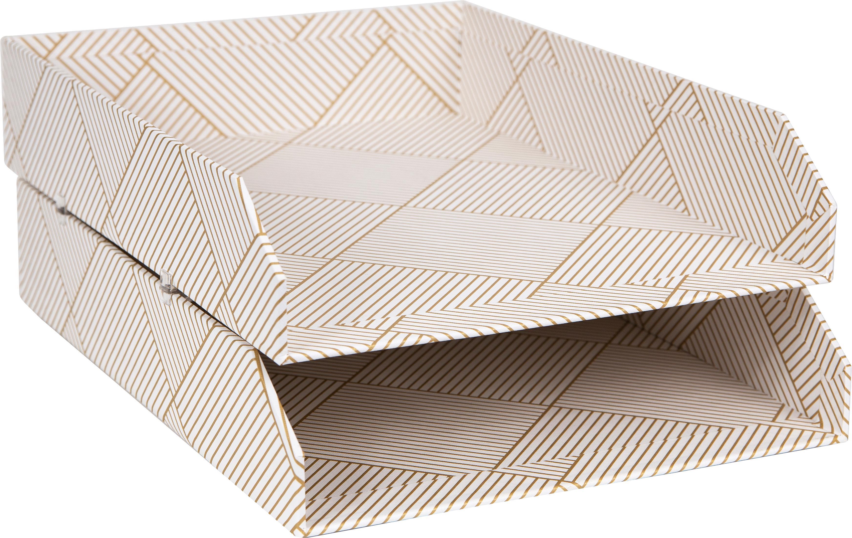 Dokumenten-Ablagen Hakan, 2 Stück, fester, laminierter Karton, Goldfarben, Weiss, B 23 x T 31 cm