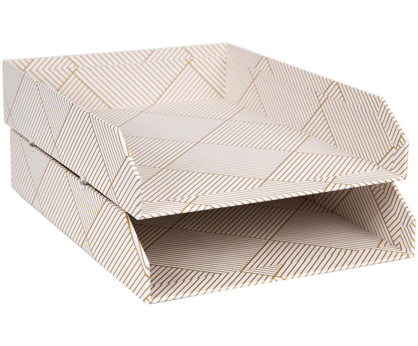 Bandejas para documentos Hakan, 2uds., Cartón laminado, Dorado, blanco, An 23 x F 31 cm