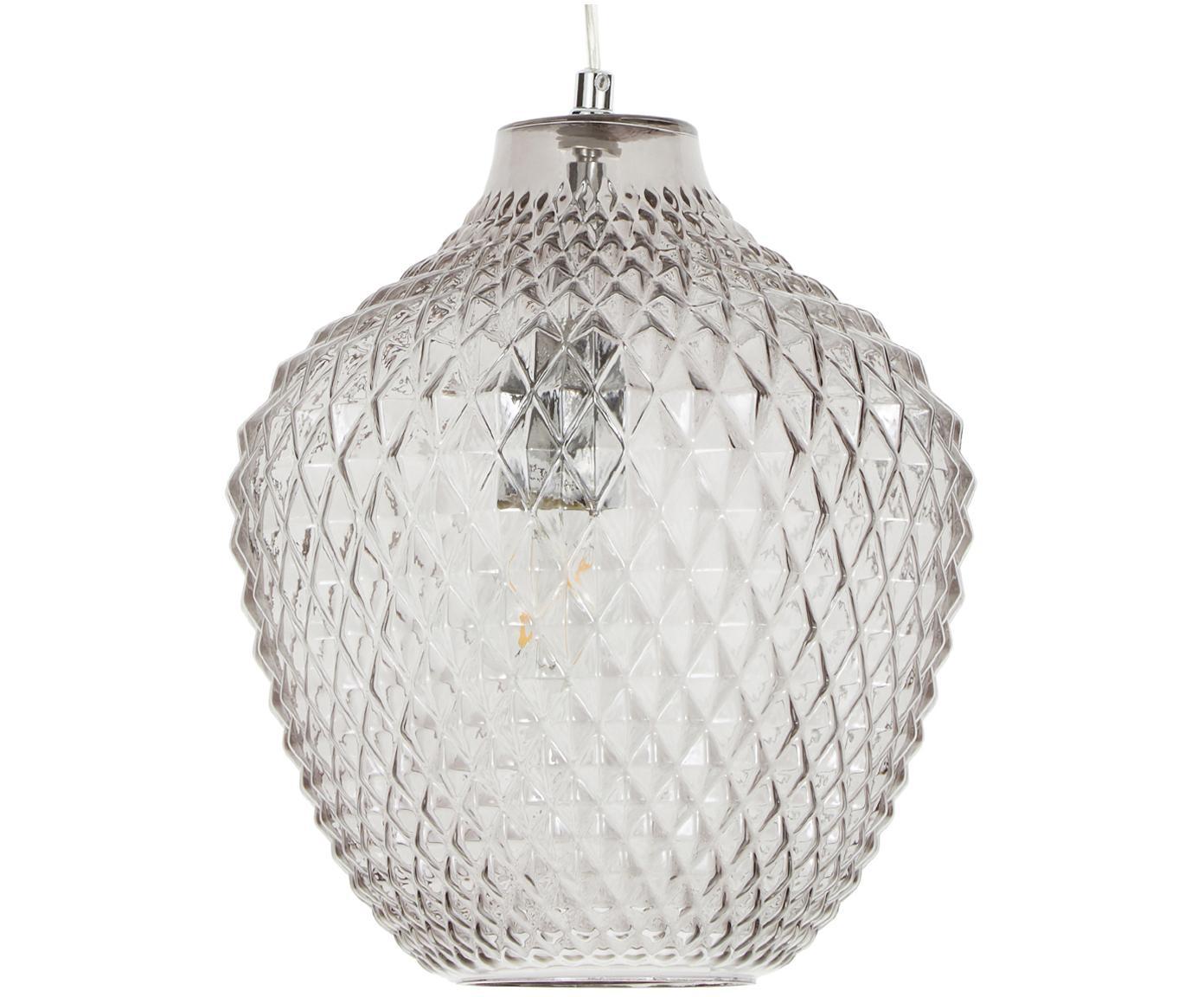 Pendelleuchte Lee aus Glas, Baldachin: Metall, verchromt, Lampenschirm: Glas, Grau, transparent, Chrom, ∅ 27 x H 33 cm