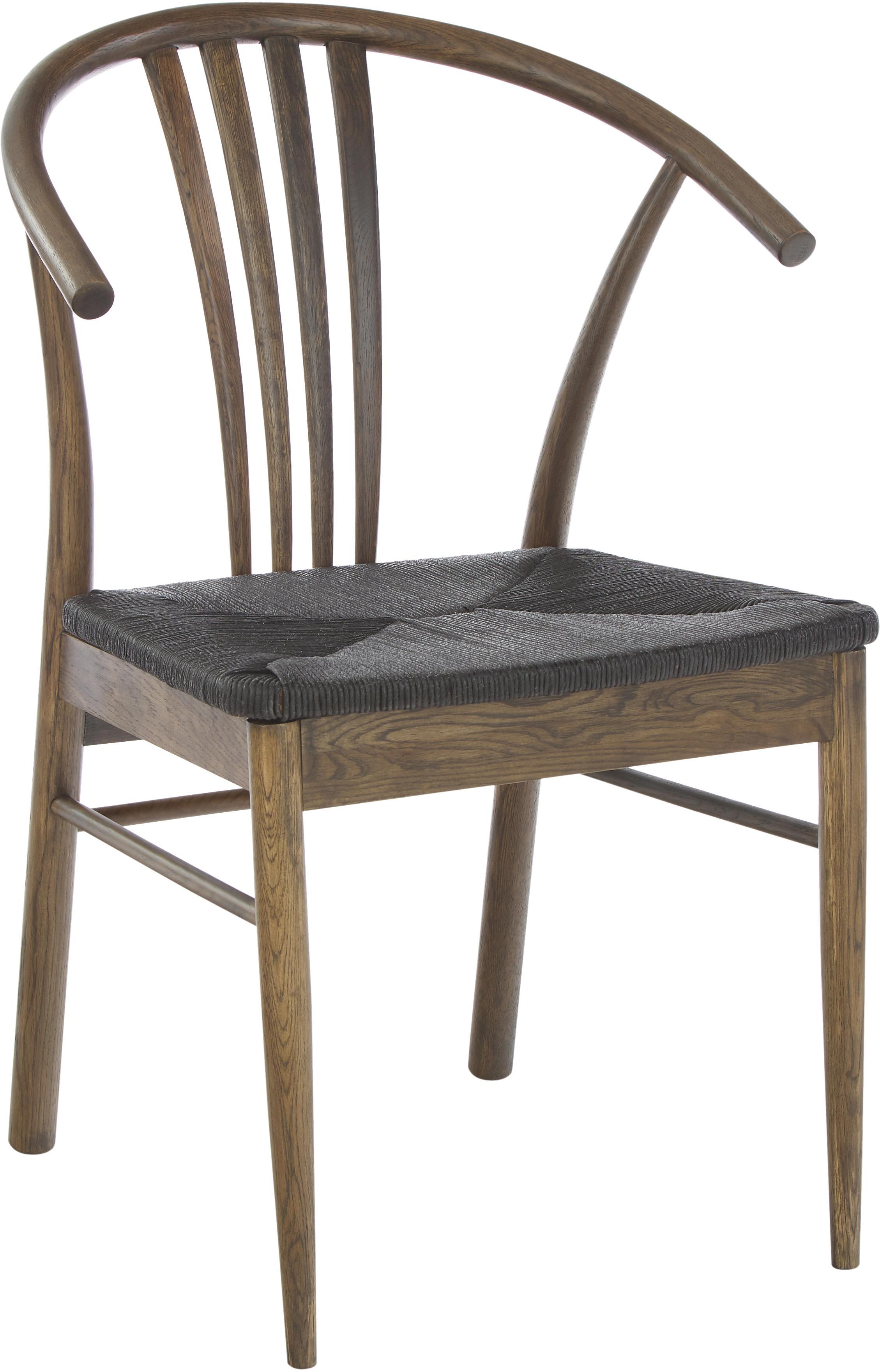 Holzstuhl York mit Armlehnen, Korpus: Eichenholz, gebeizt, Sitzfläche: Papierseil, geflochten, Schwarz, Dunkelbraun, B 54 x T 54 cm