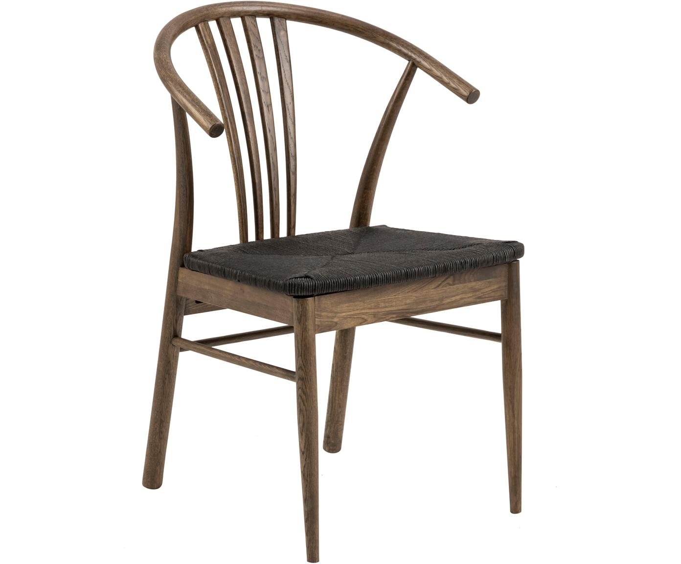 Silla con reposabrazos York, Estructura: madera de roble curtida, Asiento: cuerda trenzada, Negro, marrón oscuro, An 54 x F 54 cm