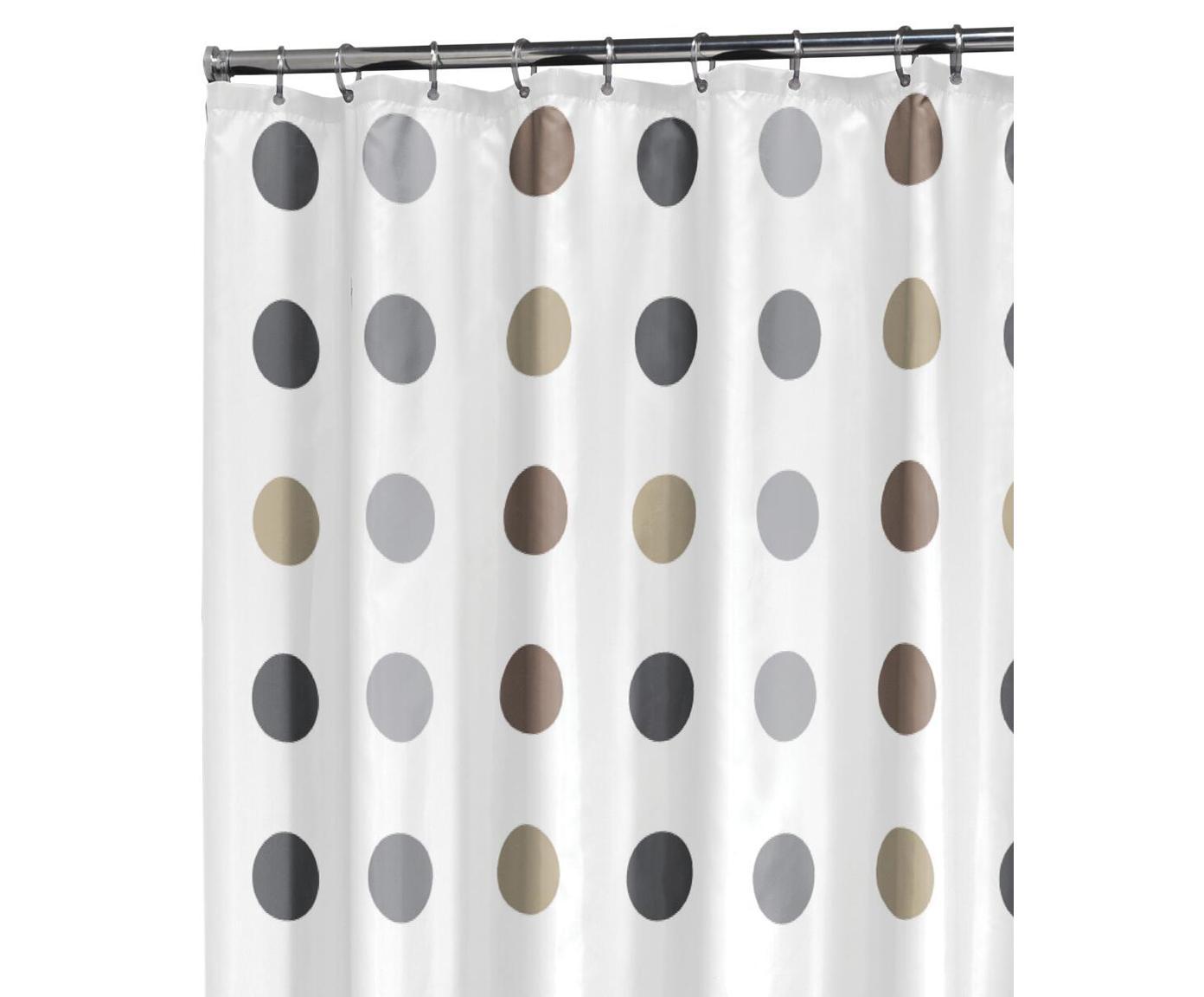Douchegordijn Twister, Polyester Waterafstotend, niet waterdicht, Wit, beige, taupe, grijs, 180 x 200 cm