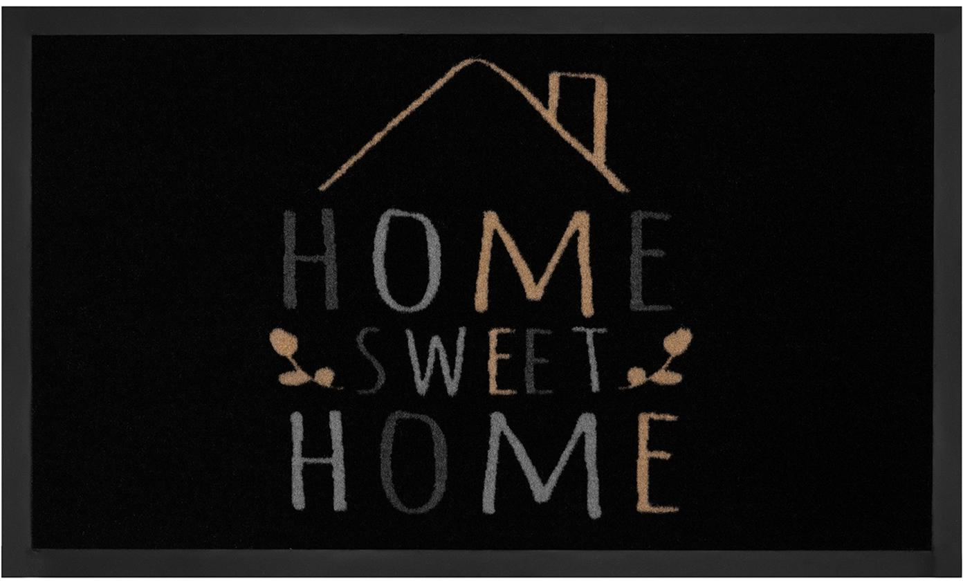 Polyamid-Fussmatte Home Sweet Home, Vorderseite: Polyamid, Rückseite: Gummi, Schwarz, Grau, Beige, 45 x 75 cm