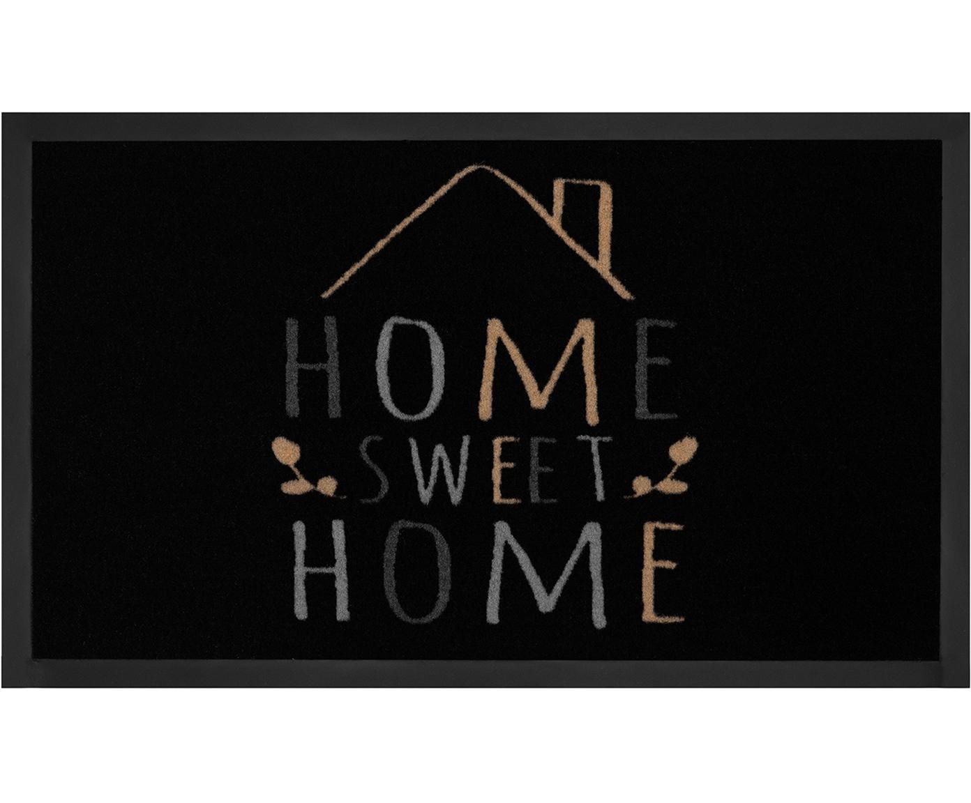 Deurmat Home Sweet Home, Bovenzijde: polyamide, Onderzijde: rubber, Zwart, grijs, beige, 45 x 75 cm