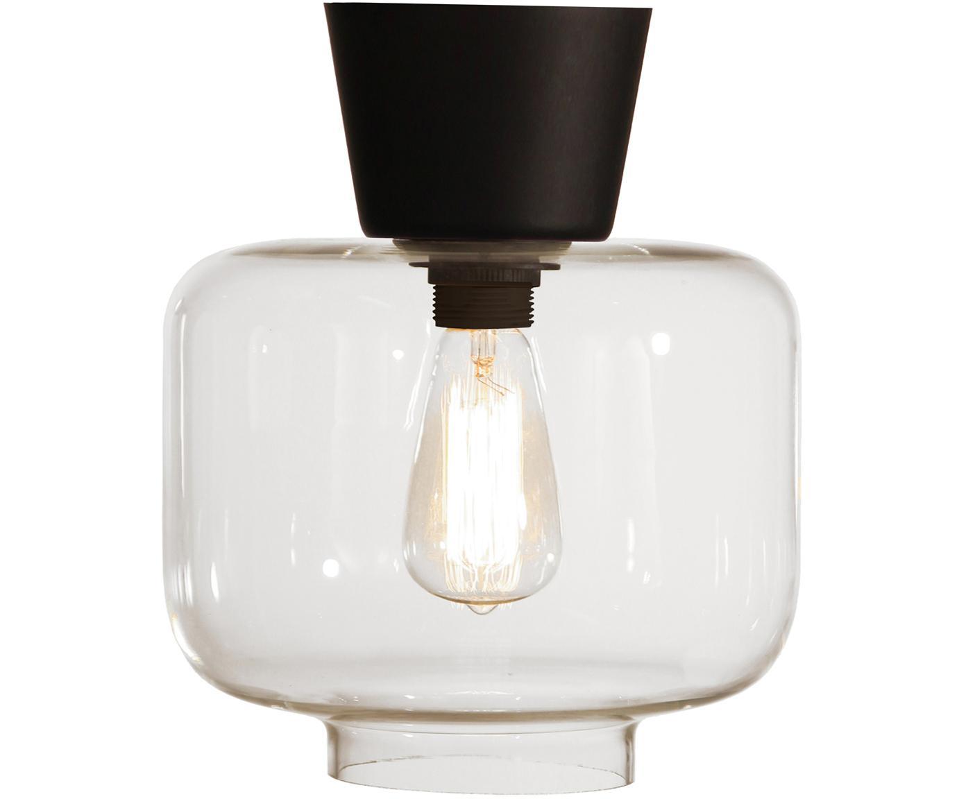 Lampada da soffitto in vetro Ritz, Baldacchino: ottone verniciato, Paralume: vetro, Nero, trasparente, Ø 25 x Alt. 28 cm