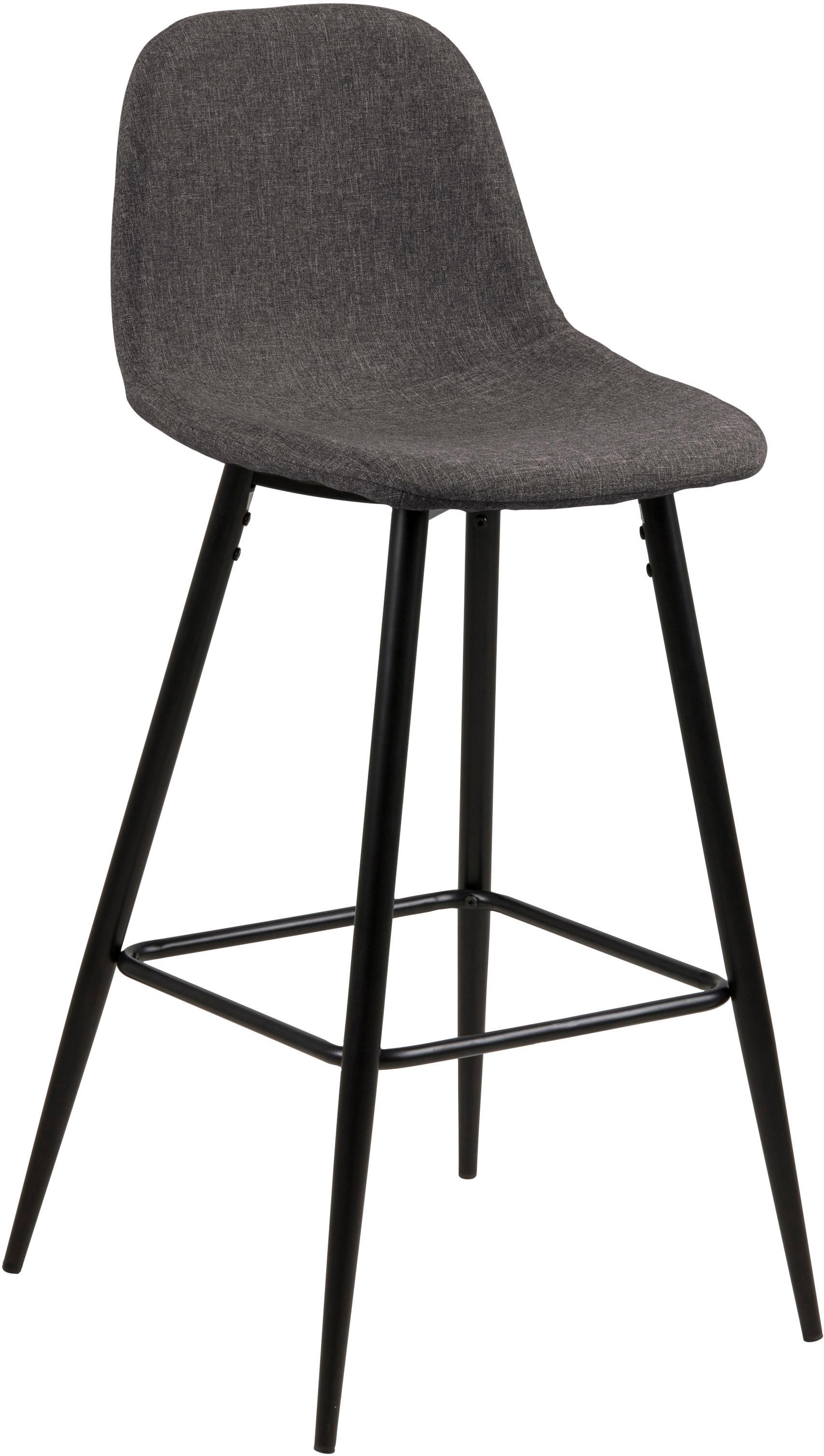 Barstoelen Wilma, 2 stuks, Bekleding: polyester, Frame: gelakt metaal, Grijs, 44 x 91 cm