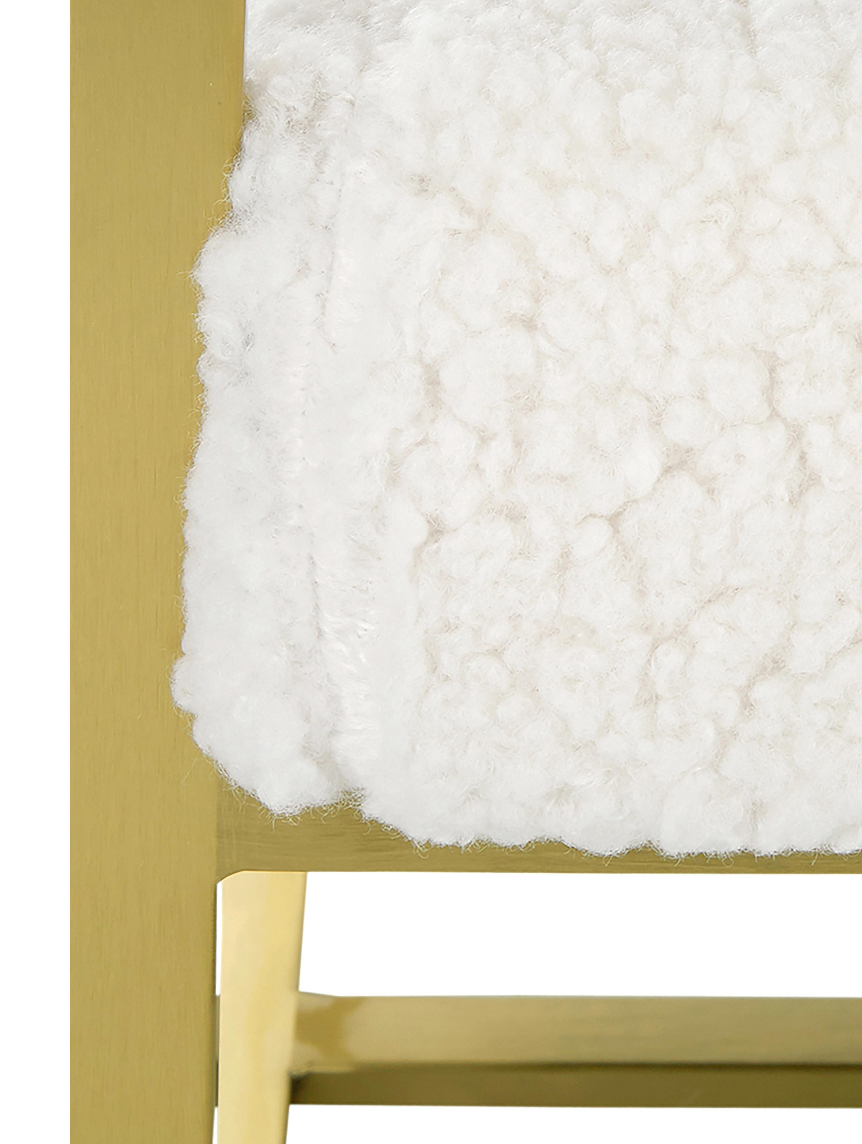 Teddy-Loungesessel Manhattan in Cremeweiß, Bezug: Polyester (Teddyfell), Gestell: Metall, beschichtet, Teddy Cremeweiß, B 70 x T 72 cm
