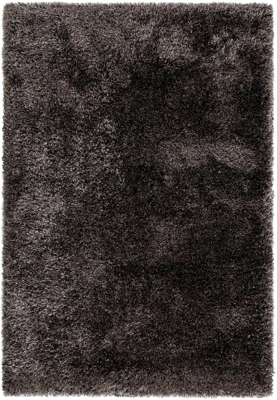 Glanzend hoogpolig vloerkleed Lea, 50% polyester, 50% polypropyleen, Antraciet, B 160 x L 230 cm (maat M)