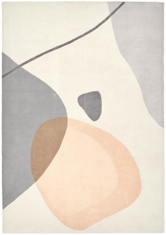 Handgetufteter Wollteppich Luke mit abstraktem Muster, Flor: 100% Wolle, Beige, Grau, Apricot, B 160 x L 230 cm (Grösse M)