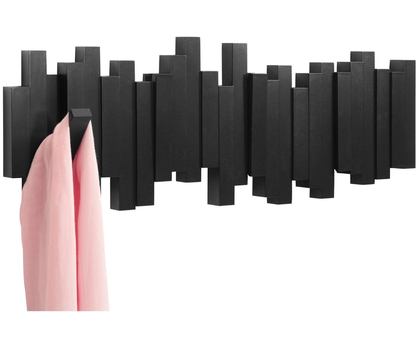 Wandkapstok Sticks, Kunststof, Zwart, 48 x 18 cm