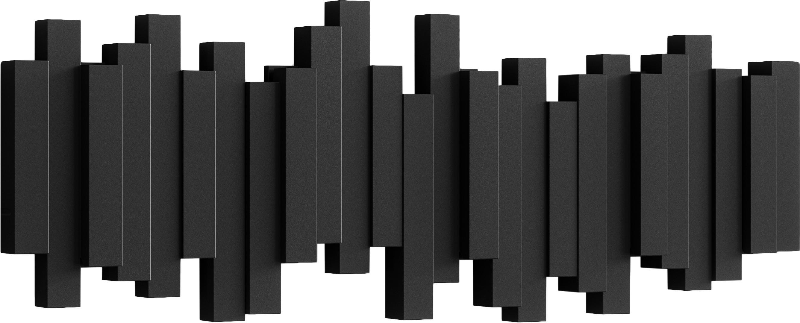 Perchero de pared Sticks, Plástico, Negro, An 48 x Al 18 cm